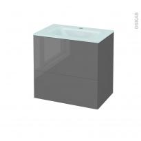 Meuble de salle de bains - Plan vasque EGEE - STECIA Gris - 2 tiroirs - Côtés décors - L60,5 x H58,2 x P40,5 cm