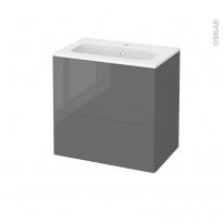Meuble de salle de bains - Plan vasque REZO - STECIA Gris - 2 tiroirs - Côtés décors - L60,5 x H58,5 x P40,5 cm