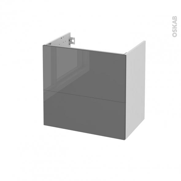 Meuble de salle de bains - Sous vasque - STECIA Gris - 2 tiroirs - Côtés blancs - L60 x H57 x P40 cm