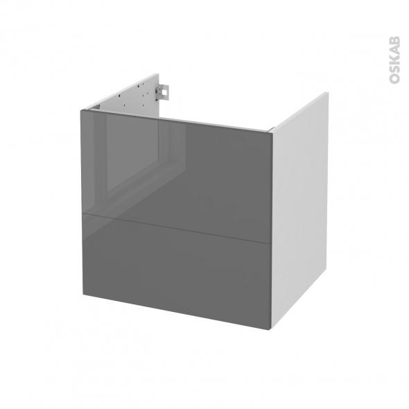 Meuble de salle de bains - Sous vasque - STECIA Gris - 2 tiroirs - Côtés blancs - L60 x H57 x P50 cm