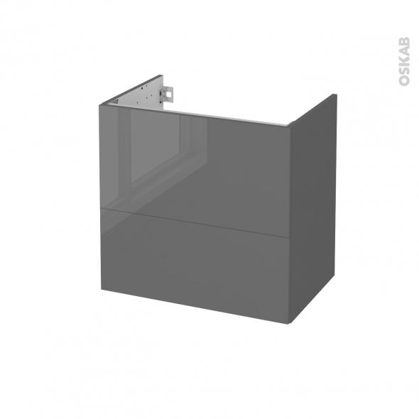Meuble de salle de bains - Sous vasque - STECIA Gris - 2 tiroirs - Côtés décors - L60 x H57 x P40 cm
