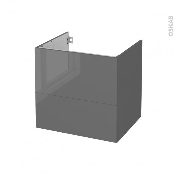 STECIA Gris - Meuble sous vasque N°622 - Côté décor - 2 tiroirs - L60xH57xP50