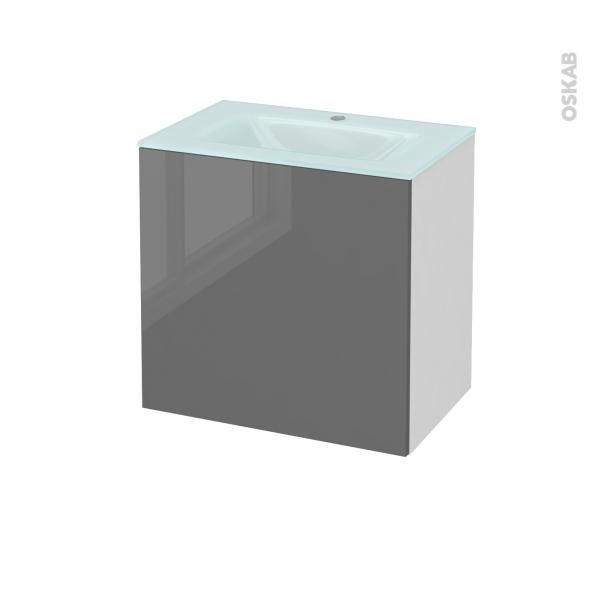 Meuble de salle de bains - Plan vasque EGEE - STECIA Gris - 1 porte - Côtés blancs - L60,5 x H58,2 x P40,5 cm