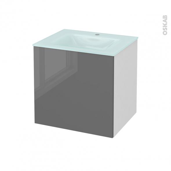 Meuble de salle de bains - Plan vasque EGEE - STECIA Gris - 1 porte - Côtés blancs - L60,5 x H58,2 x P50,5 cm