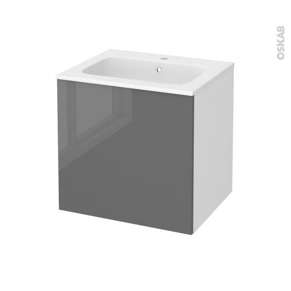Meuble de salle de bains - Plan vasque REZO - STECIA Gris - 1 porte - Côtés blancs - L60,5 x H58,5 x P50,5 cm