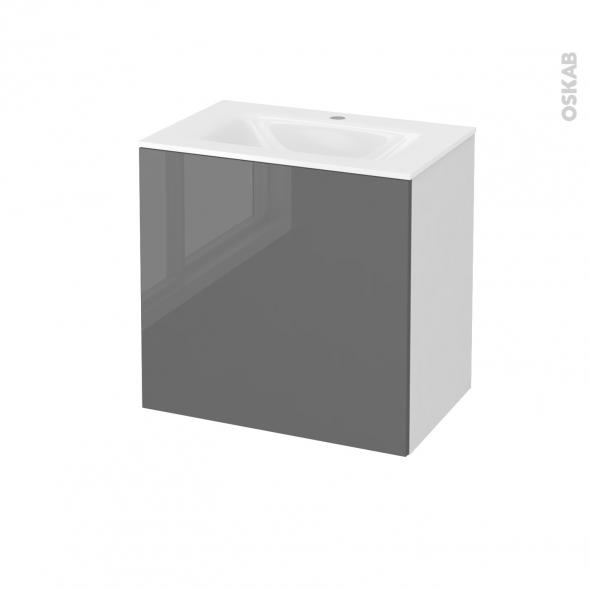 STECIA Gris - Meuble salle de bains N°161 - Vasque VALA - 1 porte Prof.40 - L60,5xH58,2xP40,5