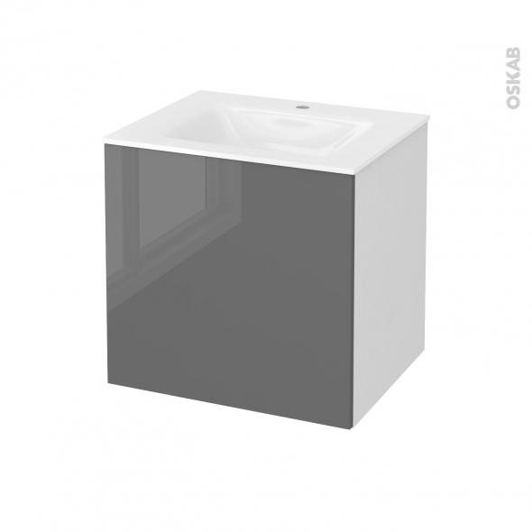 Meuble de salle de bains - Plan vasque VALA - STECIA Gris - 1 porte - Côtés blancs - L60,5 x H58,2 x P50,5 cm