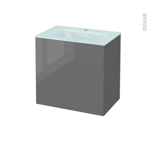 Meuble de salle de bains - Plan vasque EGEE - STECIA Gris - 1 porte - Côtés décors - L60,5 x H58,2 x P40,5 cm