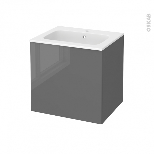 Meuble de salle de bains - Plan vasque REZO - STECIA Gris - 1 porte - Côtés décors - L60,5 x H58,5 x P50,5 cm