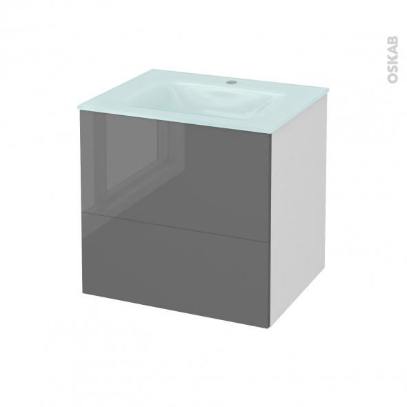 STECIA Gris - Meuble salle de bains N°621 - Vasque EGEE - 2 tiroirs  - L60,5xH58,2xP50,5