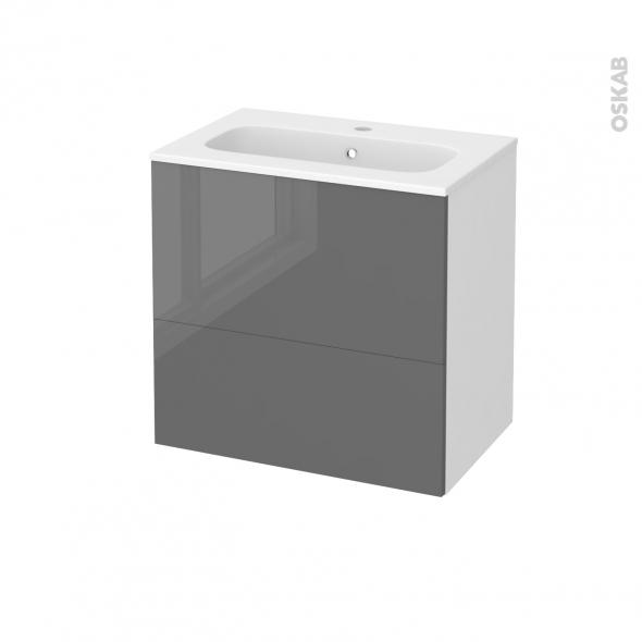 STECIA Gris - Meuble salle de bains N°621 - Vasque REZO - 2 tiroirs Prof.40 - L60,5xH58,5xP40,5