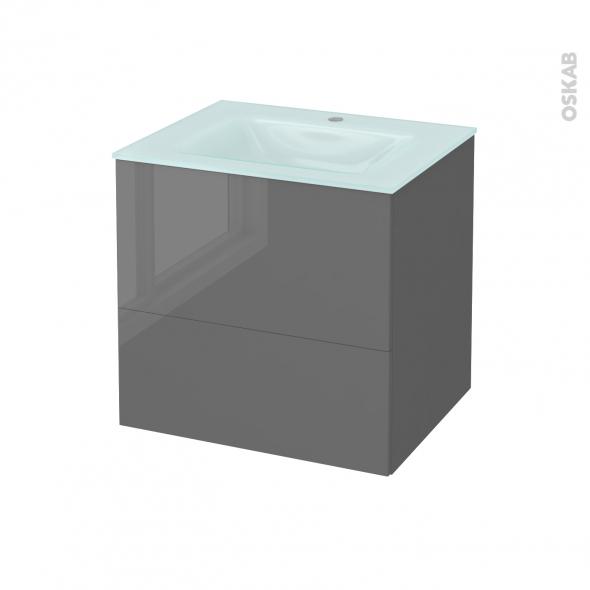 Meuble de salle de bains - Plan vasque EGEE - STECIA Gris - 2 tiroirs - Côtés décors - L60,5 x H58,2 x P50,5 cm