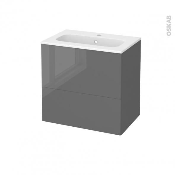 STECIA Gris - Meuble salle de bains N°622 - Vasque REZO - 2 tiroirs Prof.40 - L60,5xH58,5xP40,5
