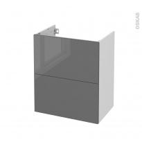 Meuble de salle de bains - Sous vasque - STECIA Gris - 2 tiroirs - Côtés blancs - L60 x H70 x P40 cm