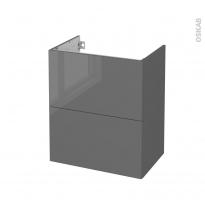 Meuble de salle de bains - Sous vasque - STECIA Gris - 2 tiroirs - Côtés décors - L60 x H70 x P40 cm