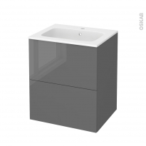 Meuble de salle de bains - Plan vasque REZO - STECIA Gris - 2 tiroirs - Côtés décors - L60,5 x H71,5 x P50,5 cm