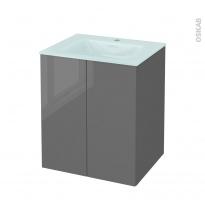 Meuble de salle de bains - Plan vasque EGEE - STECIA Gris - 2 portes - Côtés décors - L60,5 x H71,2 x P50,5 cm