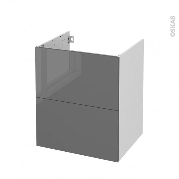 Meuble de salle de bains - Sous vasque - STECIA Gris - 2 tiroirs - Côtés blancs - L60 x H70 x P50 cm