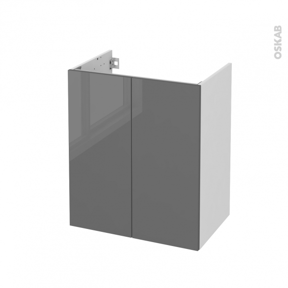Meuble de salle de bains - Sous vasque - STECIA Gris - 2 portes - Côtés blancs - L60 x H70 x P40 cm