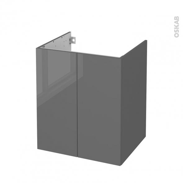 Meuble de salle de bains - Sous vasque - STECIA Gris - 2 portes - Côtés décors - L60 x H70 x P50 cm