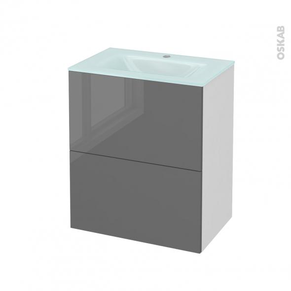 Meuble de salle de bains - Plan vasque EGEE - STECIA Gris - 2 tiroirs - Côtés blancs - L60,5 x H71,2 x P40,5 cm