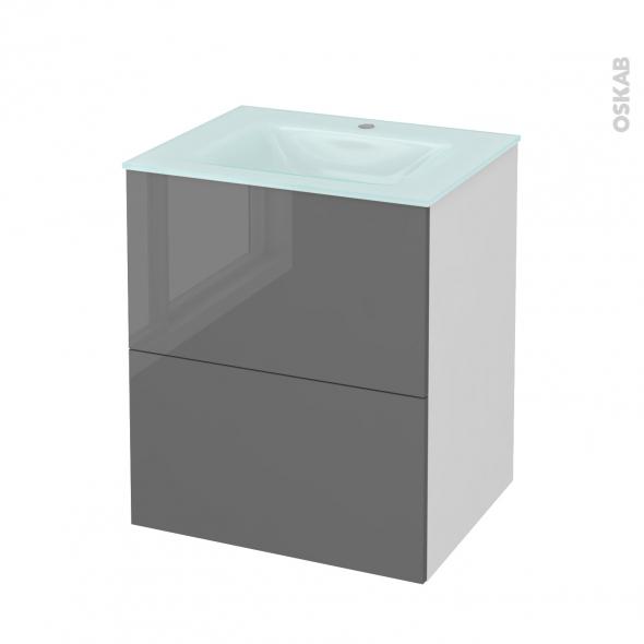 Meuble de salle de bains - Plan vasque EGEE - STECIA Gris - 2 tiroirs - Côtés blancs - L60,5 x H71,2 x P50,5 cm