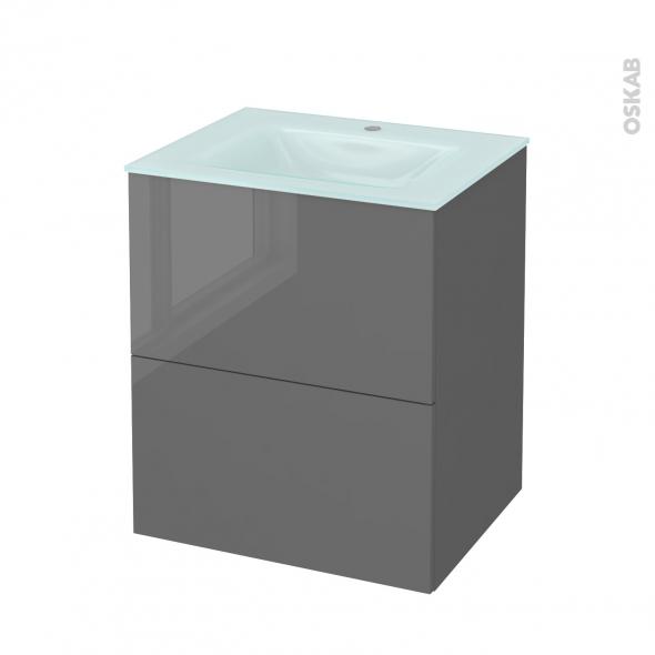 STECIA Gris - Meuble salle de bains N°572 - Vasque EGEE - 2 tiroirs  - L60,5xH71,2xP50,5