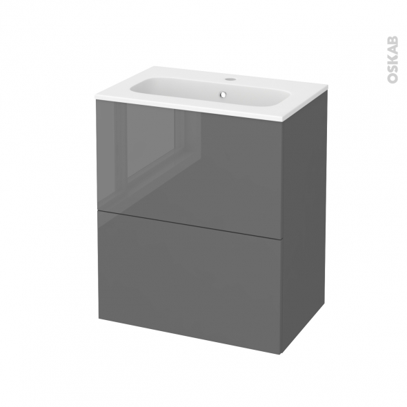 Meuble de salle de bains - Plan vasque REZO - STECIA Gris - 2 tiroirs - Côtés décors - L60,5 x H71,5 x P40,5 cm