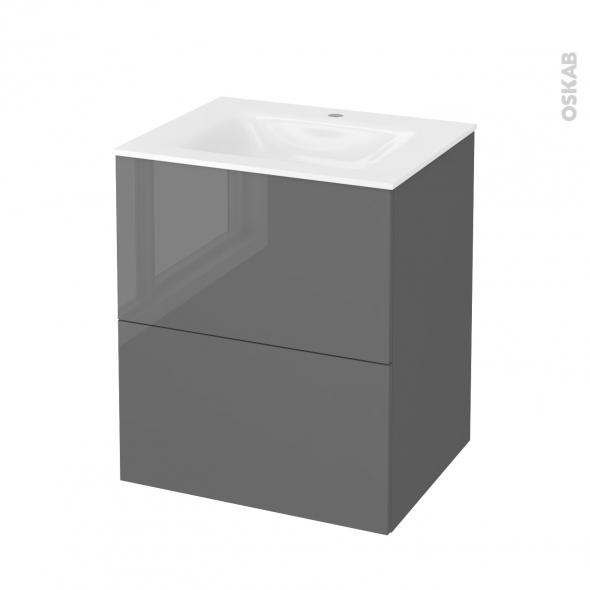 Meuble de salle de bains - Plan vasque VALA - STECIA Gris - 2 tiroirs - Côtés décors - L60,5 x H71,2 x P50,5 cm