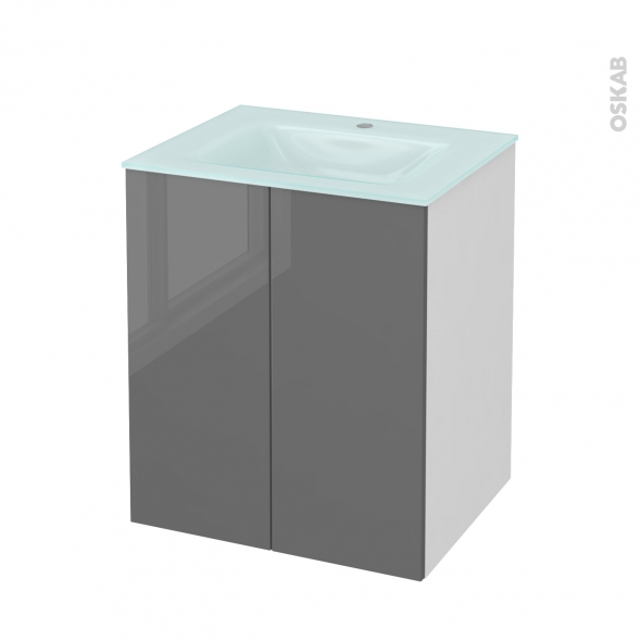 Meuble de salle de bains - Plan vasque EGEE - STECIA Gris - 2 portes - Côtés blancs - L60,5 x H71,2 x P50,5 cm