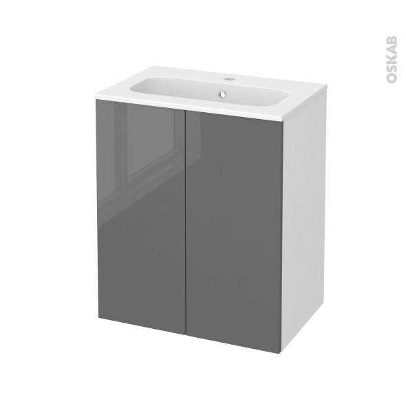 Meuble de salle de bains - Plan vasque REZO - STECIA Gris - 2 portes - Côtés blancs - L60,5 x H71,5 x P40,5 cm