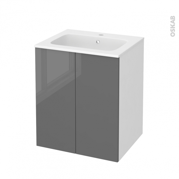 Meuble de salle de bains - Plan vasque REZO - STECIA Gris - 2 portes - Côtés blancs - L60,5 x H71,5 x P50,5 cm