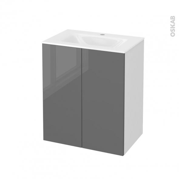 Meuble de salle de bains - Plan vasque VALA - STECIA Gris - 2 portes - Côtés blancs - L60,5 x H71,2 x P40,5 cm