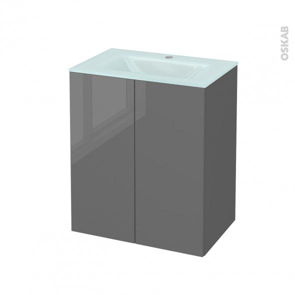 Meuble de salle de bains - Plan vasque EGEE - STECIA Gris - 2 portes - Côtés décors - L60,5 x H71,2 x P40,5 cm