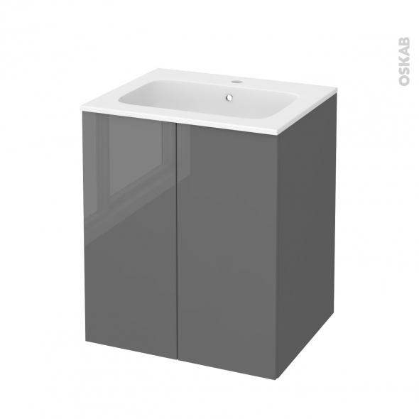 Meuble de salle de bains - Plan vasque REZO - STECIA Gris - 2 portes - Côtés décors - L60,5 x H71,5 x P50,5 cm