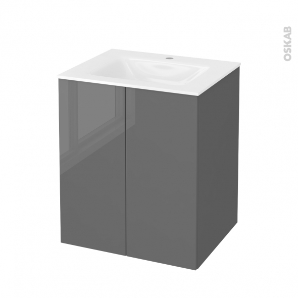 STECIA Gris - Meuble salle de bains N°692 - Vasque VALA - 2 portes  - L60,5xH71,2xP50,5