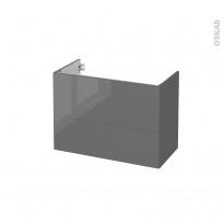 Meuble de salle de bains - Sous vasque - STECIA Gris - 2 tiroirs - Côtés décors - L80 x H57 x P40 cm