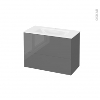 Meuble de salle de bains - Plan vasque VALA - STECIA Gris - 2 tiroirs - Côtés décors - L80,5 x H58,2 x P40,5 cm