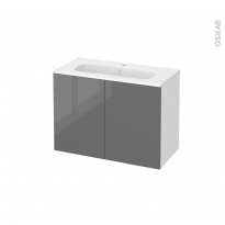 Meuble de salle de bains - Plan vasque REZO - STECIA Gris - 2 portes - Côtés blancs - L80,5 x H58,5 x P40,5 cm