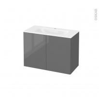 Meuble de salle de bains - Plan vasque VALA - STECIA Gris - 2 portes - Côtés décors - L80,5 x H58,2 x P40,5 cm