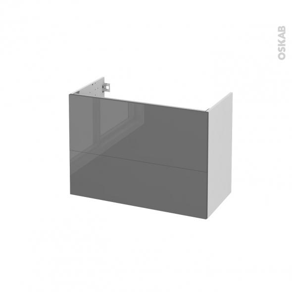 STECIA Gris - Meuble sous vasque N°631 - Côté blanc  - 2 tiroirs prof.40 - L80xH57xP40