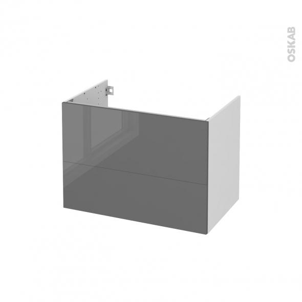 Meuble de salle de bains - Sous vasque - STECIA Gris - 2 tiroirs - Côtés blancs - L80 x H57 x P50 cm