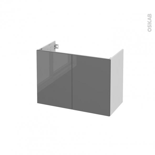 STECIA Gris - Meuble sous vasque N°641 - Côté blanc - 2 portes prof.40 - L80xH57xP40
