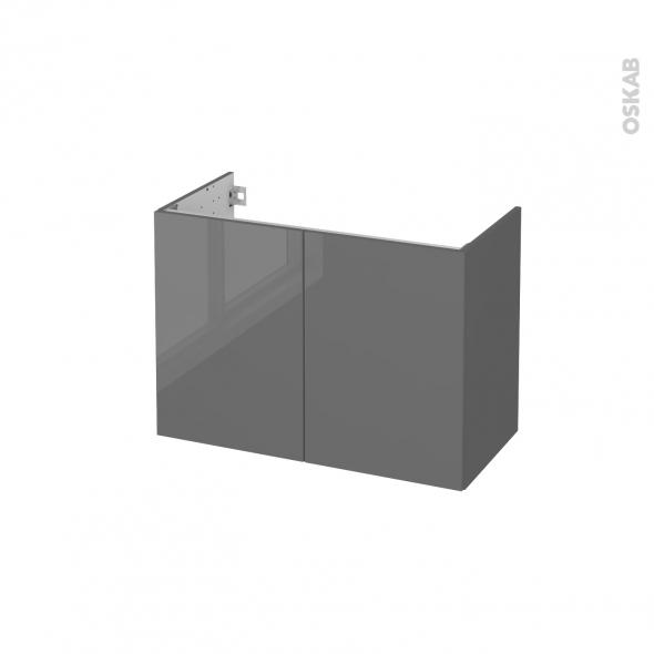 Meuble de salle de bains - Sous vasque - STECIA Gris - 2 portes - Côtés décors - L80 x H57 x P40 cm