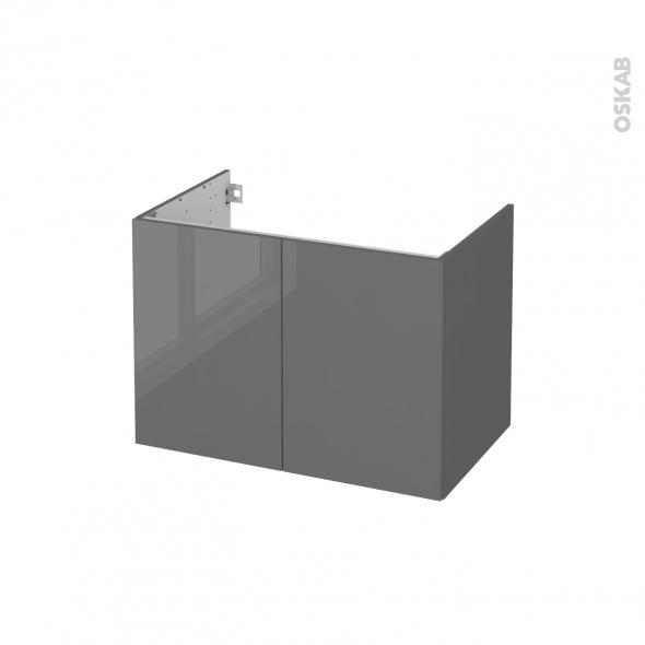 STECIA Gris - Meuble sous vasque N°642 - Côté décor - 2 portes - L80xH57xP50