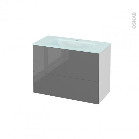 STECIA Gris - Meuble salle de bains N°631 - Vasque EGEE - 2 tiroirs Prof.40 - L80,5xH58,2xP40,5