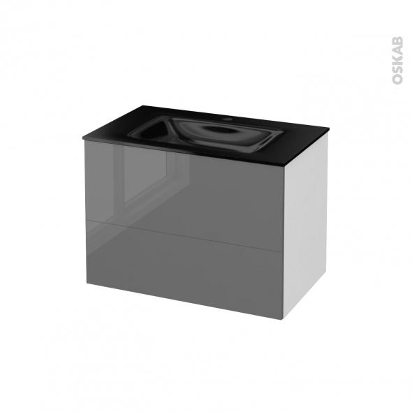 STECIA Gris - Meuble salle de bains N°631 - Vasque OCCE - 2 tiroirs  - L80,5xH58,2xP50,5