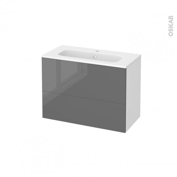 STECIA Gris - Meuble salle de bains N°631 - Vasque REZO - 2 tiroirs Prof.40 - L80,5xH58,5xP40,5