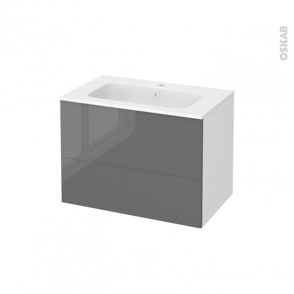 Meuble de salle de bains - Plan vasque REZO - STECIA Gris - 2 tiroirs - Côtés blancs - L80,5 x H58,5 x P50,5 cm