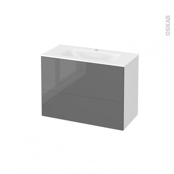 Meuble de salle de bains - Plan vasque VALA - STECIA Gris - 2 tiroirs - Côtés blancs - L80,5 x H58,2 x P40,5 cm